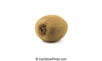 Kiwi 360 degree turning on the white background. Full HD loop video. Fresh and healthy organic food