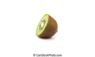 Kiwi fruit slice 360 degree turning on the white background. Full HD loop video. Fresh and healthy organic food
