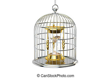 Birdcage with hourglass inside, 3D rendering isolated on...