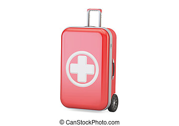 First aid kit for travel concept, 3D rendering