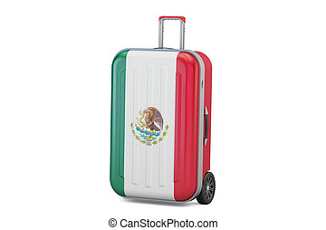 Mexico travel concept, suitcase with Mexican flag. 3D rendering