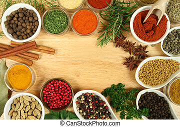 Seasoning - Various spices selection. Food ingredients and...