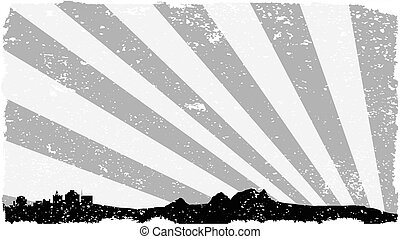 Town Silhouette Grey Grunge - Silhouette of a country...