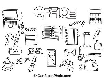 Hand drawn office set. Coloring book template.  Outline doodle