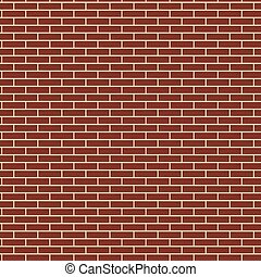 Red brick wall seamless texture background, brown color brickwork vector illustration