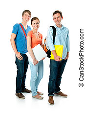 students  - Casual group of high school students smiling