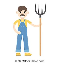 Farmer with mustache dressed in a blue jumpsuit, stand with...