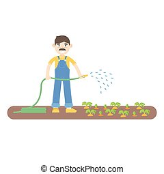 Farmer with mustache dressed in a blue jumpsuit watering...