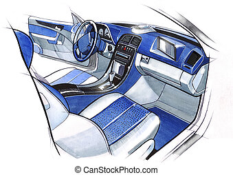 Design sketching the interior of a sports car coupe. Illustration.