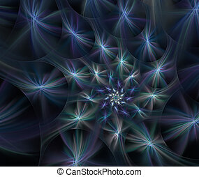 Fluffy spirals of stars with glowing rays