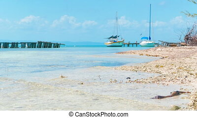 Small Marina at Coral Island - Two boats slowly swinging on...