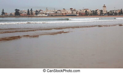 Essaouira town on Atlantic ocean beach, Morocco - View of...
