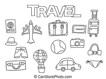 Travel elements hand drawn set. Coloring book template.  Outline doodle