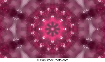 Kaleidoscopic looping VJ background red and white - Animated...