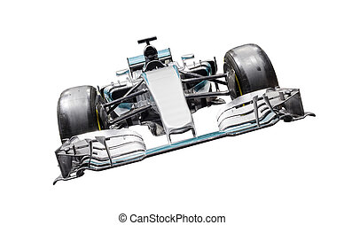 Formula One Car, fully isolated on white with clipping path...
