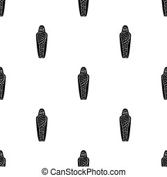 Ancient mummy icon in black style isolated on white...