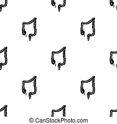 Human large intestine icon in black style isolated on white...