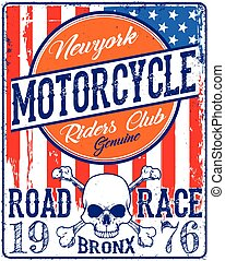 Vintage Biker Skull Emblem Tee Graphic