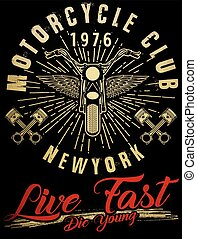 Motorcycle typography, vintage motor, t-shirt graphics,...
