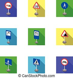 Set of road signs. Signs of prohibition, permission, priority.