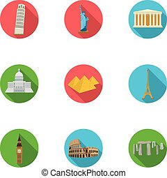 Sights of the countries of the world. Famous buildings and monuments of different countries and cities. Countries icon in set collection on flat style vector symbol stock illustration.
