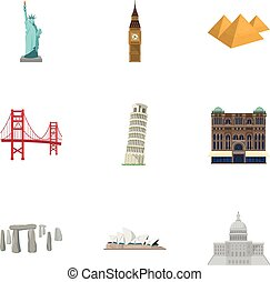Sights of the countries of the world. Famous buildings and monuments of different countries and cities. Countries icon in set collection on cartoon style vector symbol stock illustration.