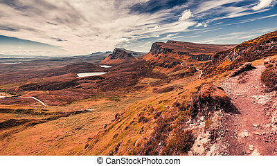 Stunning view from Quiraing to valley in Scotland, UK
