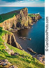 Wonderful dusk at the Neist point lighthouse in Scotland