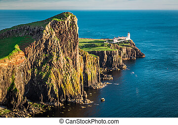 Dusk at the Neist point lighthouse in Scotland