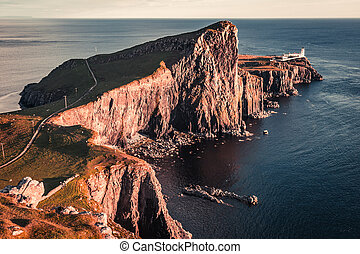 Stunning sunset at the Neist point lighthouse, Scotland, UK