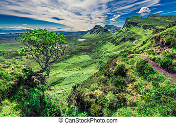 Famous view from Quiraing in Isle of Skye, Scotland, UK