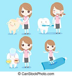 dentist with sensitive tooth - cute cartoon woman dentist...