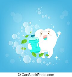 cartoon tooth with mouthwash - cute cartoon tooth with...