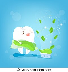 tooth with paste and brush