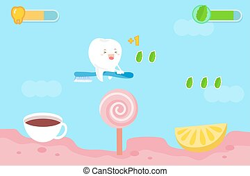 tooth with health concept - cute cartoon tooth with health...