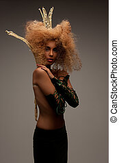woman in crown with fashionable hair - lovely woman in crown...