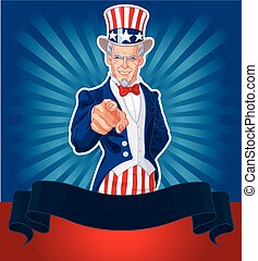 Uncle Sam Wants You! - Uncle Sam pointing patriotic design