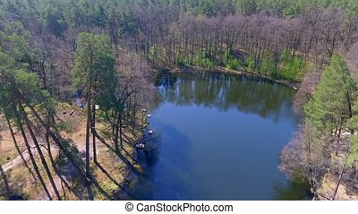 Aerial View. Flying over the beautiful forest trees. Aerial...