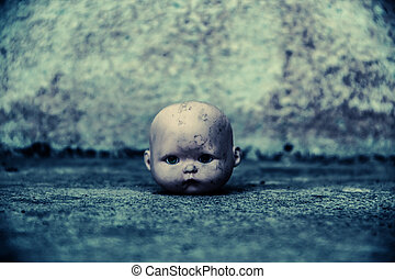 Spooky doll - Head of spooky doll in haunted house