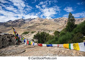 View of Zanskar Valley - Always find prayer flag around...