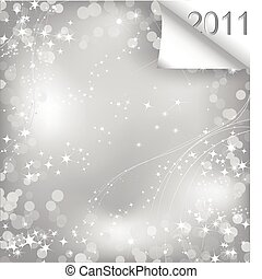 Sparkling sheet of paper with curl 2011. Vector - New year...
