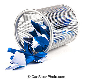 Rubbish - A silver mesh waste paper bin with blue paper...
