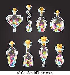Big set of bottle elixir with gems. Game design