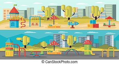 Kids Playground Horizontal Banners - Kids playground...