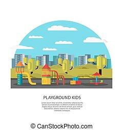 Kids Amusement And Entertainment Concept - Kids amusement...