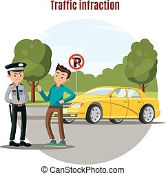 Colorful Traffic Violation Concept - Colorful traffic...
