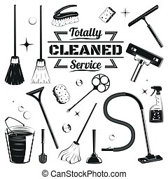 Hand Drawn Cleaning Elements Set - Hand drawn cleaning...
