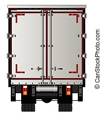 Lorry Rear Doors - The rear end of a large lorry over a...