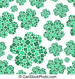 lot of various green cloverleaf for happy seamless pattern eps10