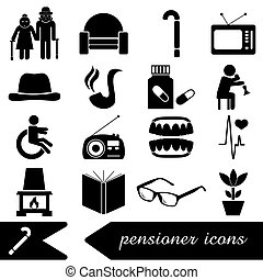 pensioner senior citizen theme set of icons eps10